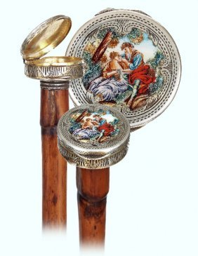 26. Dual Purpose Silver And Enamel Cane-ca.