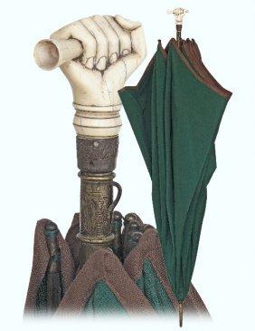 35. Ivory Mounted Umbrella-ca. 1880-giant Umbrella With