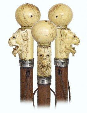 50. Early Ivory Figural Cane-ca. 1760-ivory Ball Knob