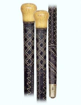 53. Early Ivory & Ebony Piqué Cane-ca. 1800-plain