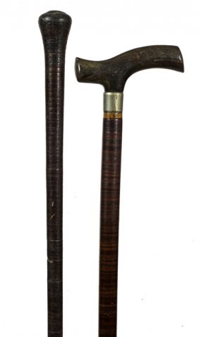 176. Pair Of Leather Washer Canes- Ca. 1910- One With A