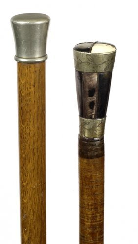 179. Two Bludgen Canes- Ca. 1900- Both With Silver