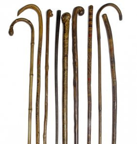 182. Nine Antique Canes- Ca. 1880-1910- $200-$300
