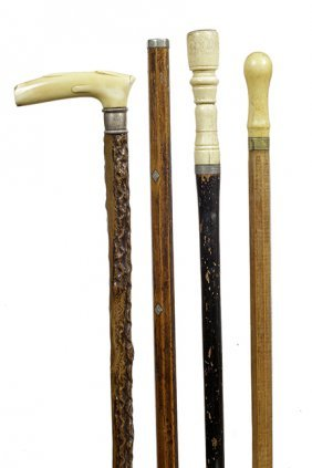 206. Bone, Two Ivory Canes Plus One Gambler's Cane- Ca.