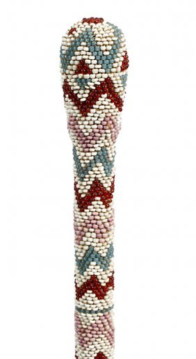 9. Native American Beaded Cane- Ca. 1920- A Full Beaded