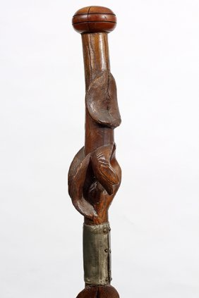 84. Folk Art Snake Cane- Ca. 1900- An Unusual Diamond