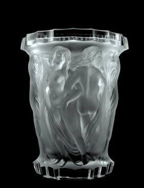 Glamorous French Art Deco Bohemian Glass Large Vase