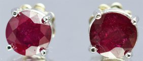 Ruby 3.20ctw Stud Earrings 14kw