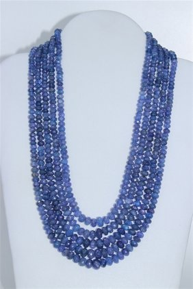 Tanzanite 5 Row Beaded Necklace