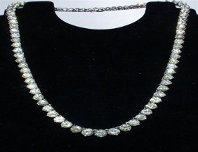 Diamond Tennis Necklace 14k White Gold, Over 39.88 Ctw