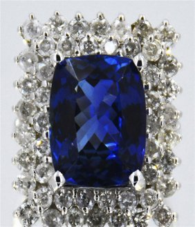Tanzanite 10.69 Ctw & Diamond Ring 14kw