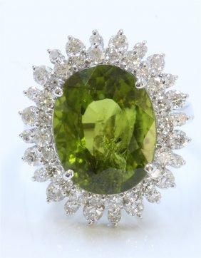 14k White Gold Ring 5.57gram Diamond 1.49ct Green