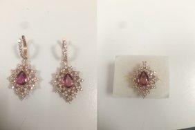 3 Piece Ring And Earing Set Natural Pink Tourmaline