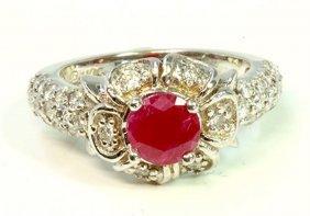 Ruby 1.01ct / Diamond 0.71ct / 14k White Gold Ring