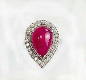 Ruby 5.67ct, 14k W/g Ring 5.74gram / Diamond Rd 0.60ct