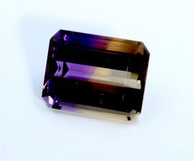 25.05 Ct & Up Ametrine Radiant Bi Color Quartz
