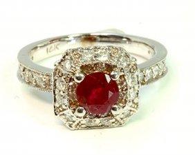 Ruby 1.00ct / Diamond 0.71ct / 14k White Gold Ring 4.49