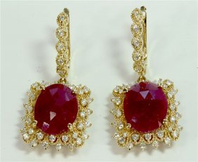 Ruby Cabochion 11.21ct / Diamond 1.27ct / 14k Yellow