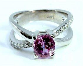Natural Pink Sapphire 1.45ct / Diamond 0.17ct / 14k