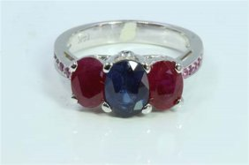 Ruby 2.11ct Blue Sapphire 1.51ct Pink Sapphire