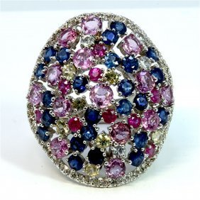 Natural Ceylon Mix Sapphire 12.63ct / Diamond 0.65ct /