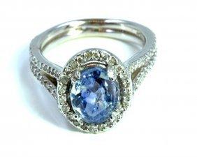 Natural Ceylon Sapphire 2.13ct / Diamond 0.41ct / 14k