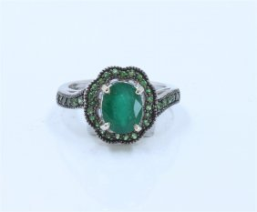 14k White Gold Tsavorite