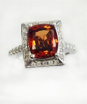 Malaya Garnet 3.79ct, 14k W/g Ring 6.69gram / Diamond