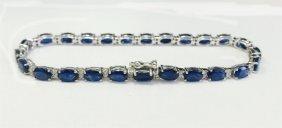 Blue Sapphire 13.83ct, 14k W/g Bracelet 6.78gram /