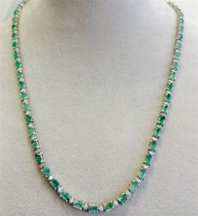 Emerald Oval 13.75ct, ) 14k W/g Necklace 15.54gram /