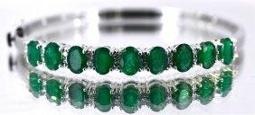 Emerald About 8 Ctw Diamond Bracelet 14kw