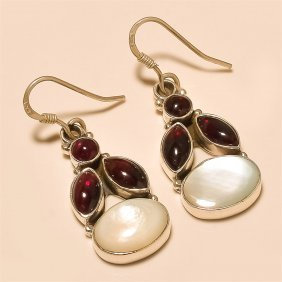 Mother Of Pearl /garnet Earring Solid Sterling Silver