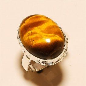 Tiger Eye Ring Solid Sterling Silver