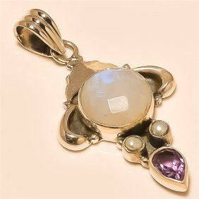 Moon Stone/pearl Pendant Solid Sterling Silver