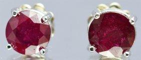 Ruby 3.20ctw Stud Earrings 14kw