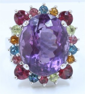 14k White Gold Ring:10.2g/amethyst:13.32ct/ruby
