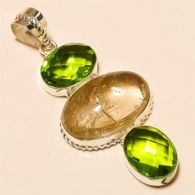 Golden Rutile /peridot Quartz Pendant Solid Sterling