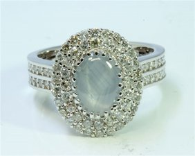 Natural Ceylon Star Sapphire 1.64 Ct & Diamond 1.05 Ct