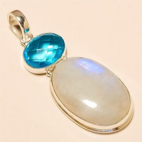 Moonstone/blue Topaz Pendant Solid Sterling Silver