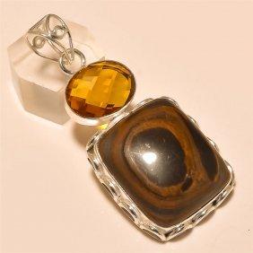 Copper Obsidian/citrine Pendant Solid Sterling Silver
