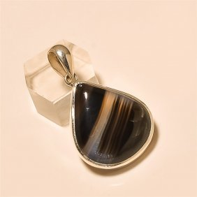 Banded Agate Pendant Solid Sterling Silver