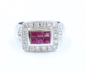 14k White Gold Ruby Ring:9.41gdiamond:0.57ctruby:0.68ct