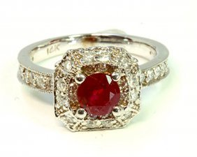 Ruby 1.00ct / Diamond 0.71ct / 14k White Gold Ring 4.49