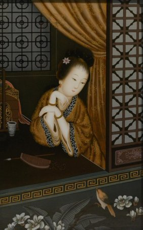 Chinese Reverse Glass Painting - Sitting Beauty