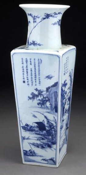 Chinese Kangxi Style Blue And White Square