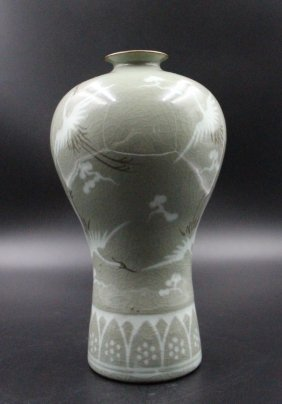 Korean Celadon Jar Decorated With Cranes