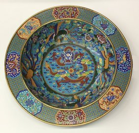 Chinese Large Cloisonne Charger