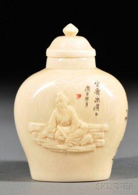 Ivory Snuff Bottle, China, Round Baluster Shape, Front