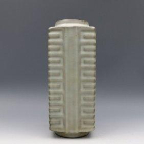 The Song Kiln Azure Glaze Four Fang Cong Type Bottle