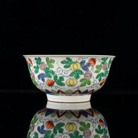 Qianlong Famille Rose Porcelain Dragon Bowl